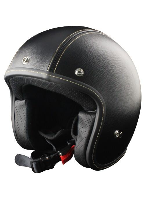 Casco Jet Origine Primo Clasico Negro casco acabado en cuero perfecto para moto clasica