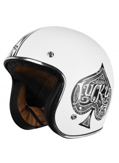 Casco Jet Origine Primo Red Spade White As de picas aspecto vintage retro