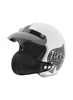 Mascara de cuero para casco jet