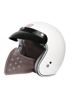 Mascara de cuero para casco jet perforada