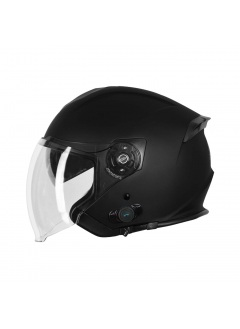 Helmet Demi-Jet Origine Palio Black Matt with BLUETOOTH and sun glass for city use