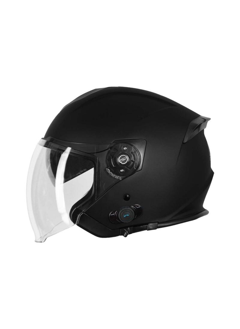 Helmet Demi-Jet Origine Palio Black Matt with BLUETOOTH and sun glass for city use