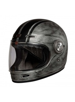 Origine Vega Vega Custom Matt Silver. Retro Full Face helmet