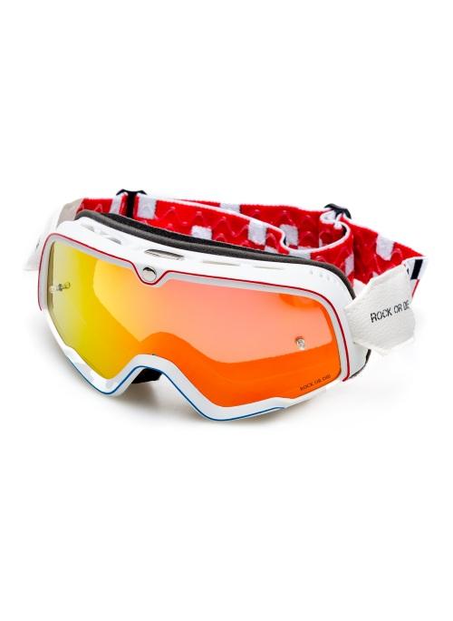 Rock Or Die white vintage motorcycle goggles
